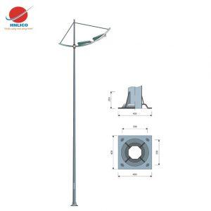 Cột đèn cánh buồm đơn lắp 02 đèn.