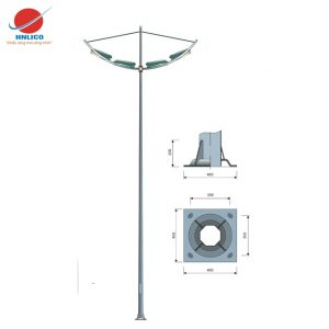 Cột đèn cánh buồm kép lắp 4 đèn