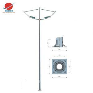 Cột đèn cánh buồm kép lắp 2 đèn
